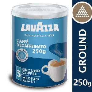 Lavazza Decaffeinated Ground Coffee Blend, Dek Classico, Arabica & Robusta, Medium Roast, 250 g Tin