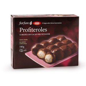 Fior Fiore Profitteroles Filled With Cream Covered With Dark Chocolate 12 pieces 450g