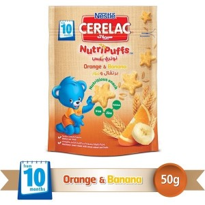 Nestle Cerelac Nutripuffs From 10 Months, Orange And Banana Bag 50g