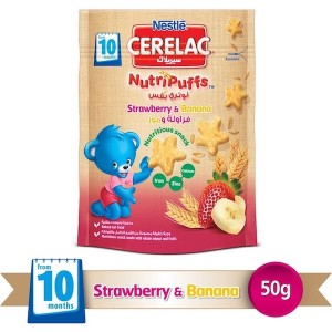 Nestle Cerelac Nutripuffs From 10 Months, Strawberry And Banana Bag 50g