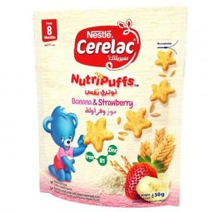 Nestlé Cerelac NutriPuffs Healthy Snacks strawberry & banana Baby Food 50g Pouch