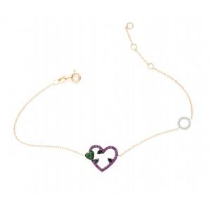 18 carat gold bracelet with diamonds, emaralds & rubies