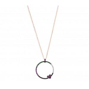 18 carat gold pendant with diamonds, emaralds & rubies