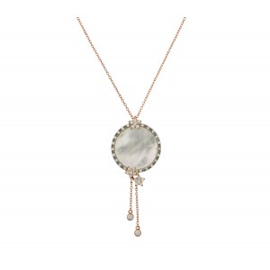 18 carat gold pendant with diamonds & mother of pearl