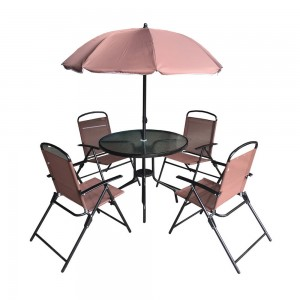 Campmate Glass Top Table + 4 Chair With Umbrella
