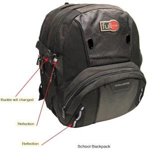"Full Stop (8066) School Bag Black BackPack  17.5""  3  B-1071-A16"