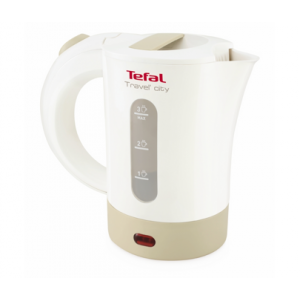 Tefal 650 Watts Travel Kettle with Two Cups & Spoons - KO120127, White