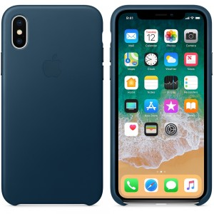Apple iPhone X Leather Case - Cosmos Blue, MQTH2ZM/A