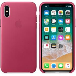 Apple iPhone X Leather Case - Pink Fuchsia, MQTJ2ZM/A