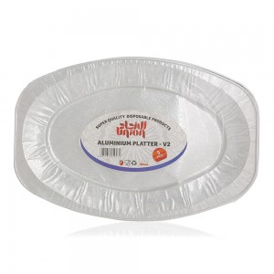 Union Super Quality Disposable Aluminium Oval Platter V2 - 5 Pieces