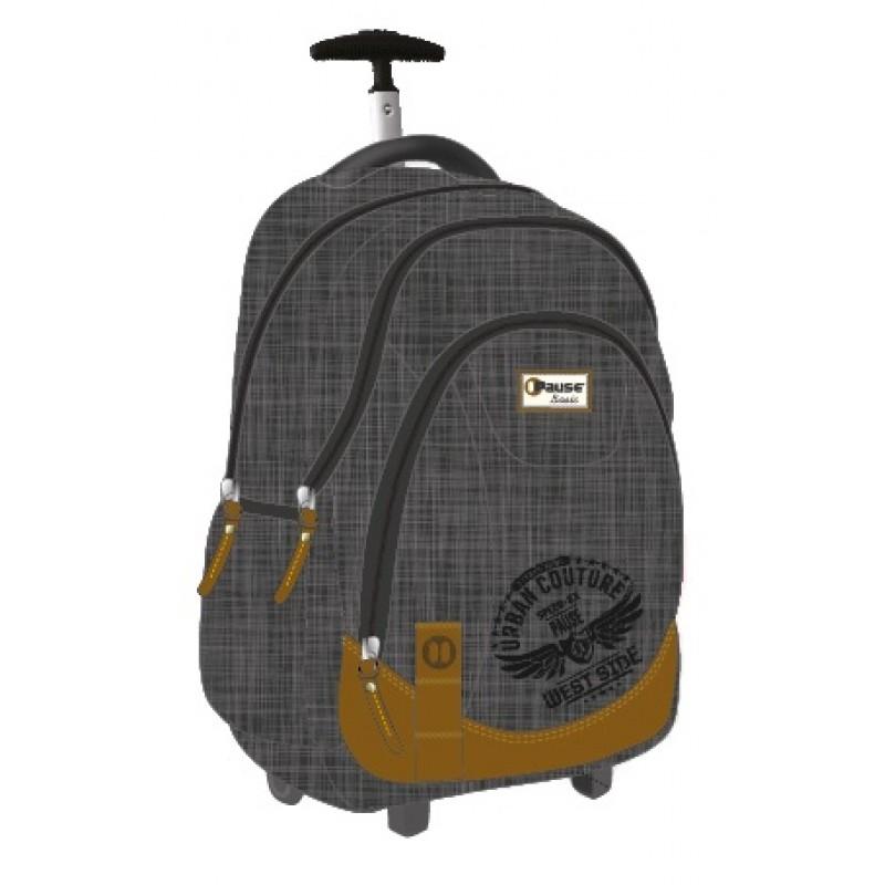 """Pause (8231) Basic School Bag 19"""" Black Trolley PBBT-609-B16"""