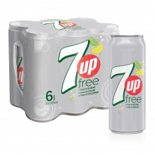 7UP Free, Carbonated Soft Drink, Cans, 355 ml x 6