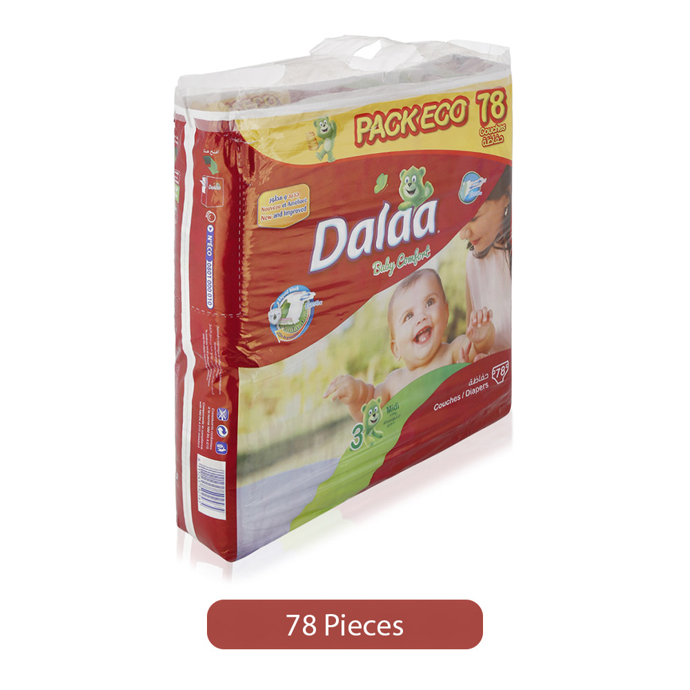 Dalaa Baby Comfort Size 3 Midi Diapers - 78 Pieces, Size 3