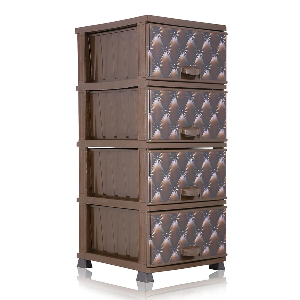 Elif 298 Patterned Storage Commode Drawer - Brown