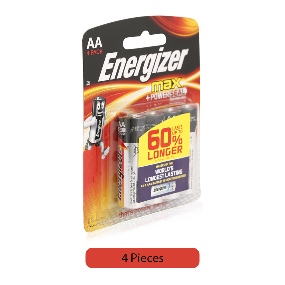 Energizer Max +Powerseal Alkaline AA Battery - 4 Pieces