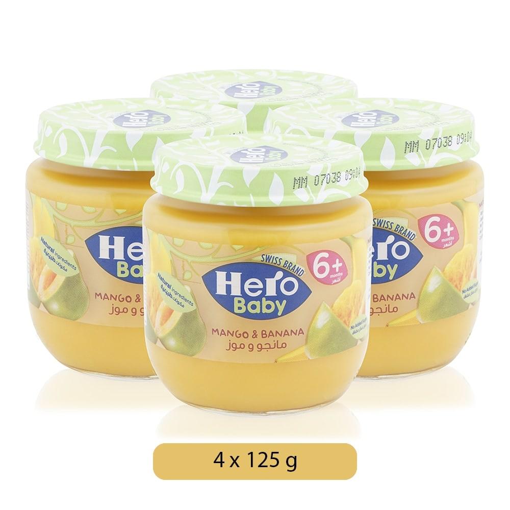 Hero Baby Mango and Banana Baby Food - 125 g, 6 Months Plus