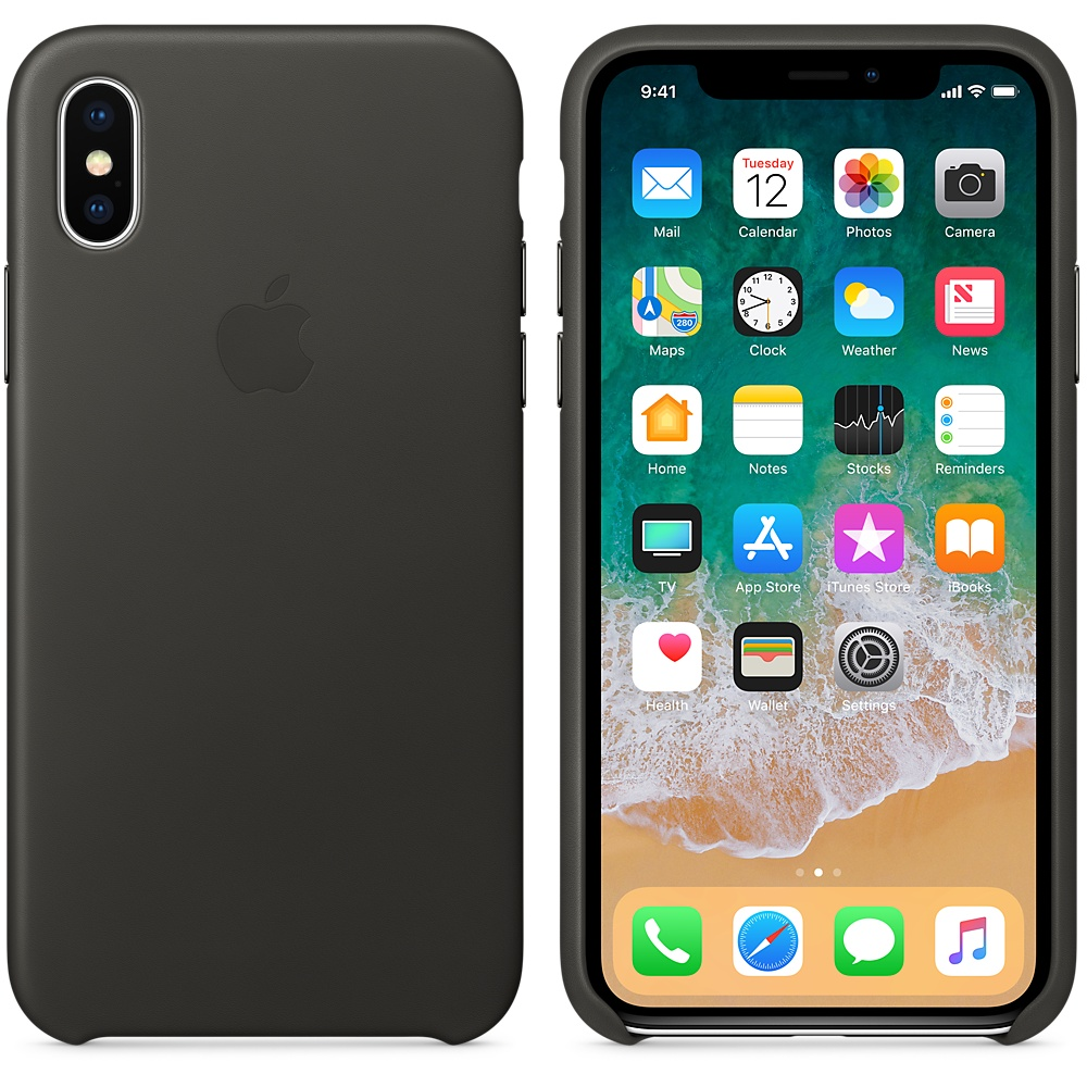 Apple iPhone X Leather Case - Charcoal Gray, MQTF2ZM/A