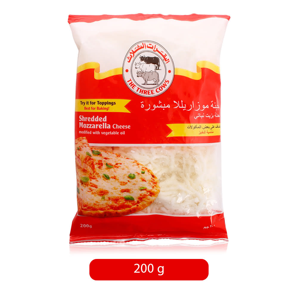 The Three Cows Shredded Mozzarella Cheese - 200 g