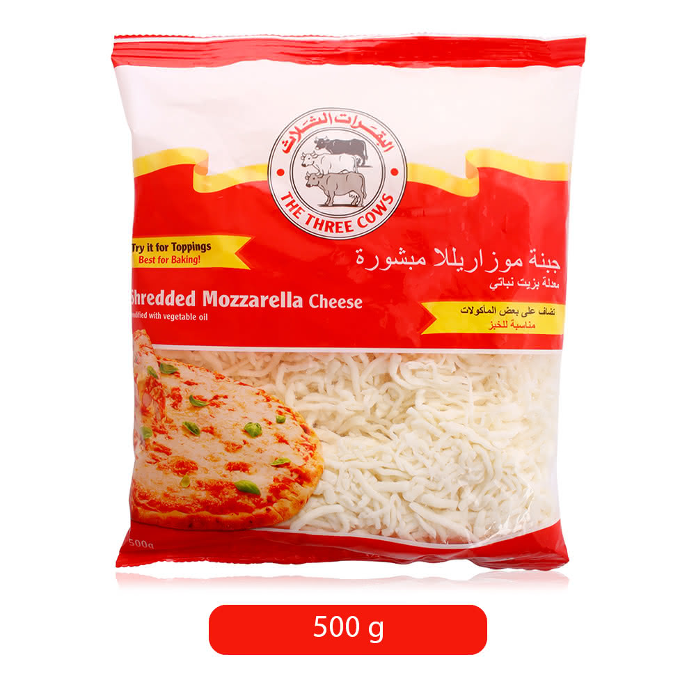 The Three Cows Shredded Mozzarella Cheese - 500 g