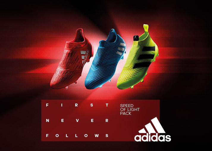 Køb 2016/17 sæsonens adidas Speed of Light fodboldstøvler hos Unisport