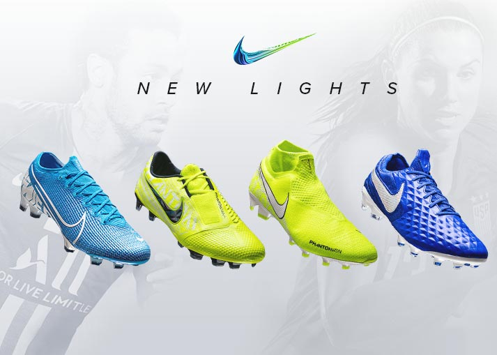 Nike har introduceret os for New Lights Pack. Vi præsenterer nye colourways for Mercurial, Phantom og Tiempo-støvlerne. Køb Nike New Lights Pack hos Unisport.