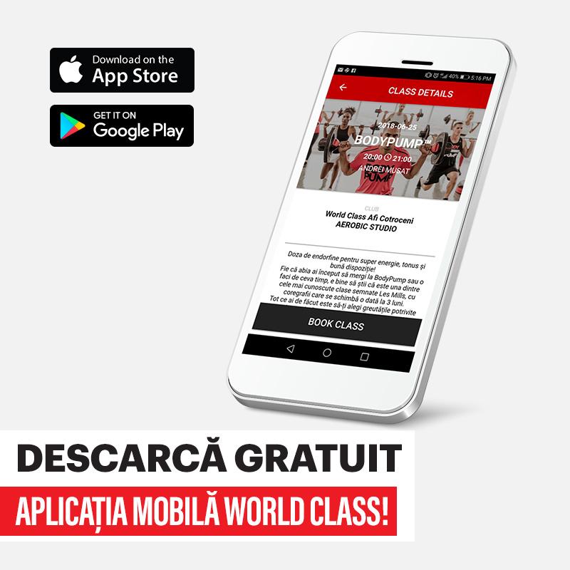 Descarcă acum aplicația mobilă World Class!