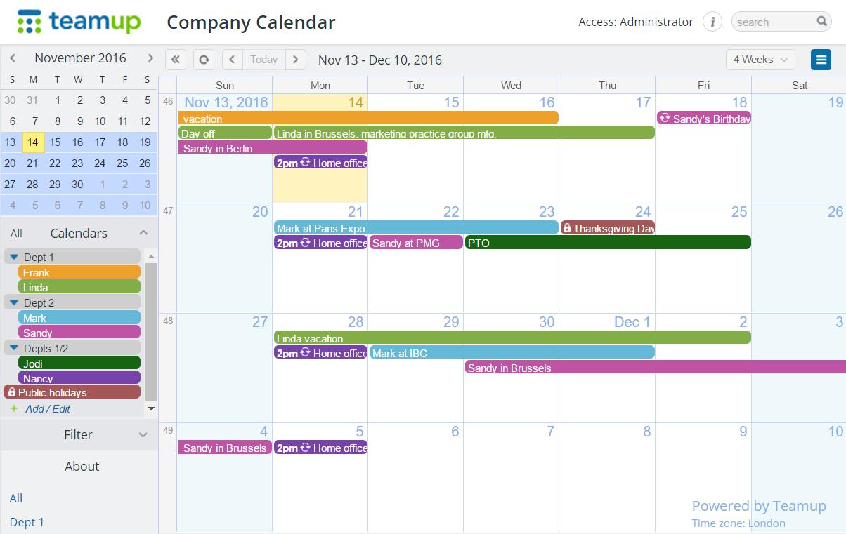 Company calendar with folders