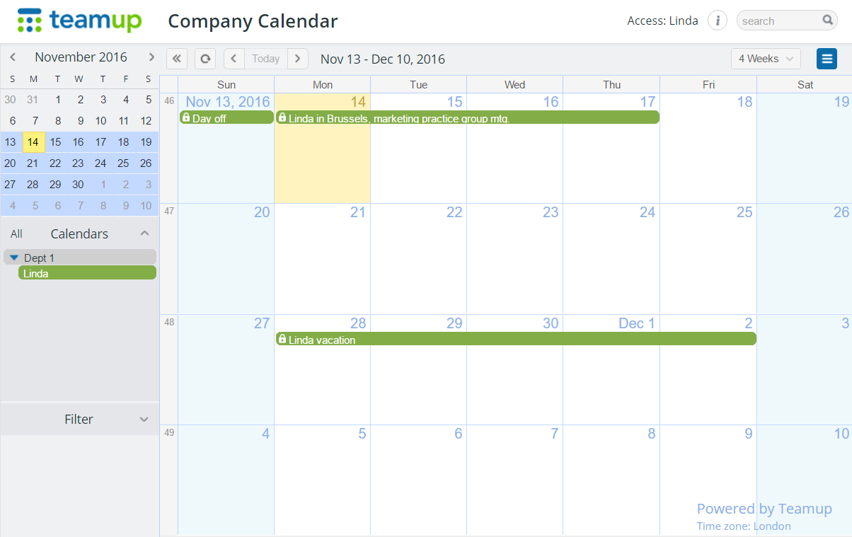 View only individual employee who could update her own calendar