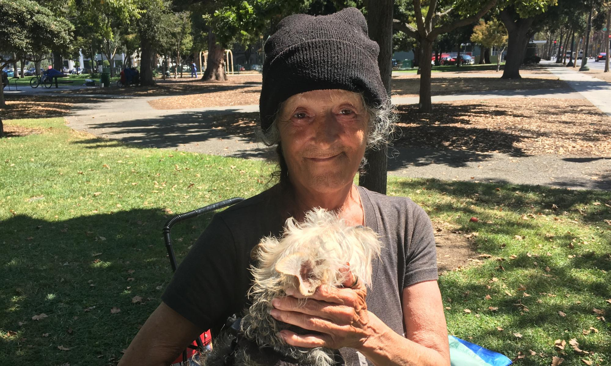 A homeless woman named Chata in San Jose. She said she would be 'the first one to sign up' for a tiny home.