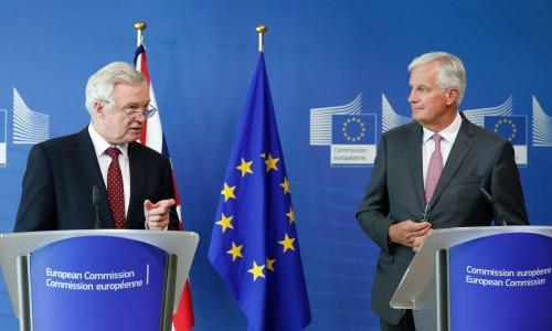 The British Brexit secretary, David Davis, and the European Union chief Brexit negotiator, Michel Barnier.