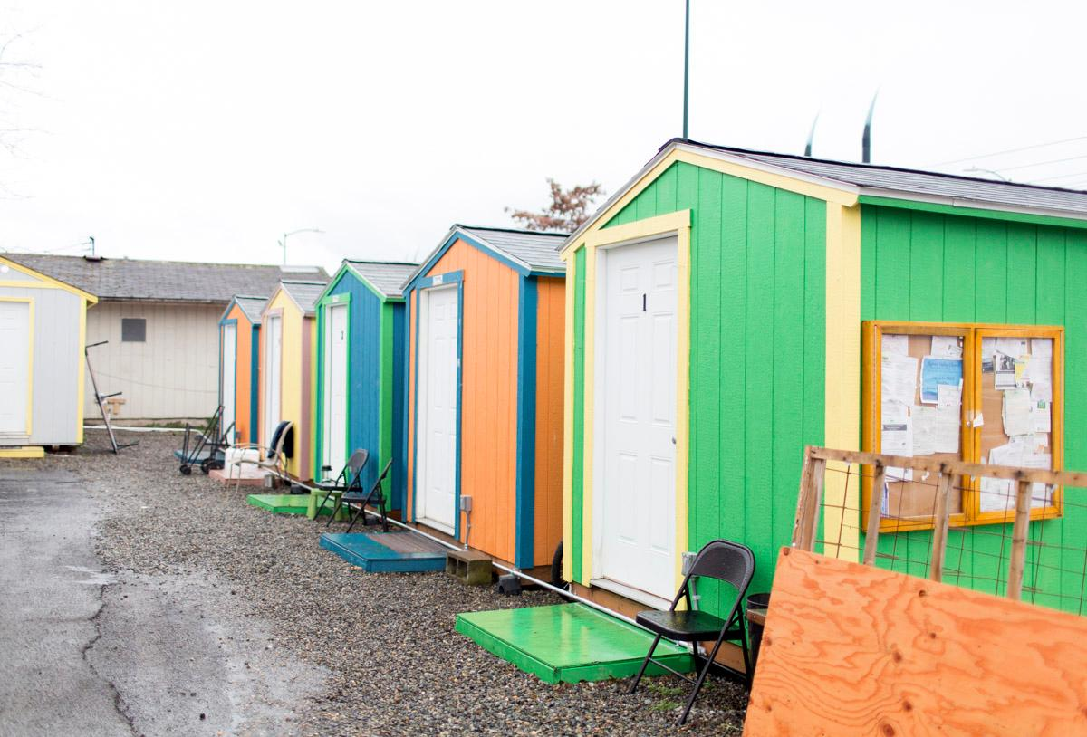 A tiny home village in Seattle. Cities across the Pacific north-west have already embraced the concept for housing the homeless.