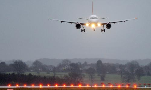 A plane prepares to land at Luton airport. The hub says the poll's findings do not match its customer service survey.