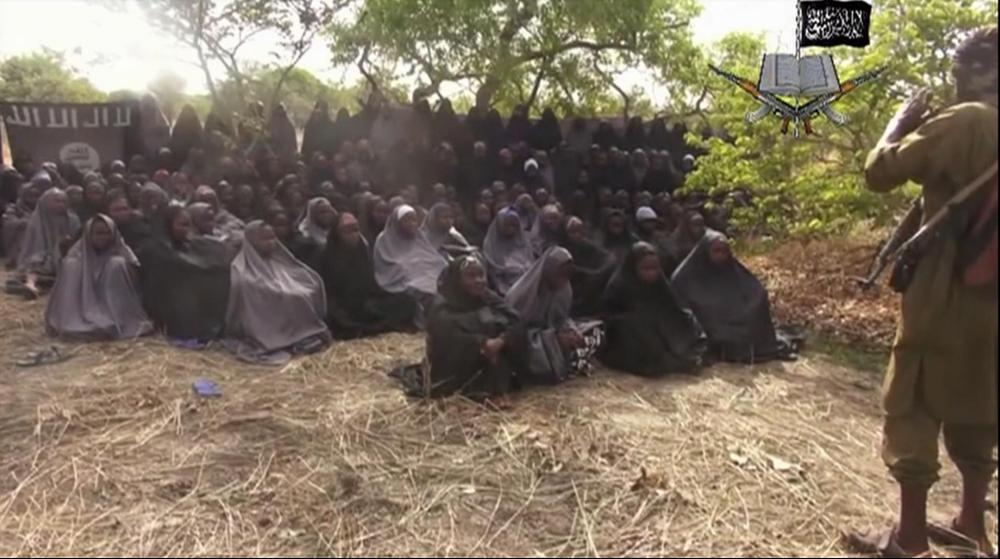 Some of the girls kidnapped by Boko Haram in 2014, forced to wear traditional Islamic clothing.
