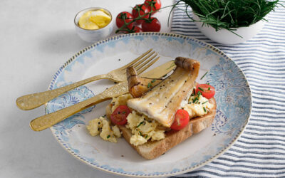 Smoked haddock scrambled eggs on toast