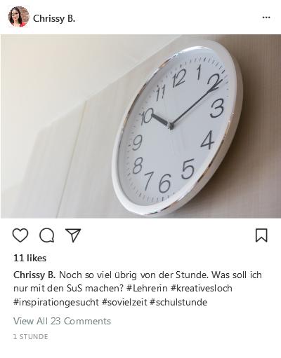 Instagram-Post Schulstunde