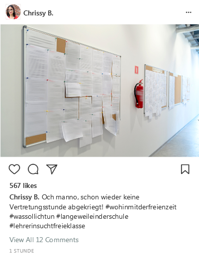 Instagram-Post Vertretungsstunde