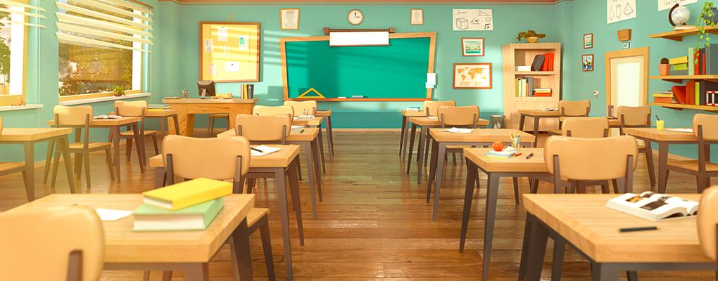 Der Blick in ein leeres Klassenzimmer mit Stühlen und Tischen