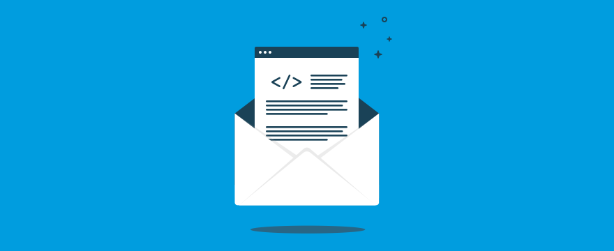 """""""E-Mail auf blauem Hintergrund"""" Header-Bild für Blog-Post"""