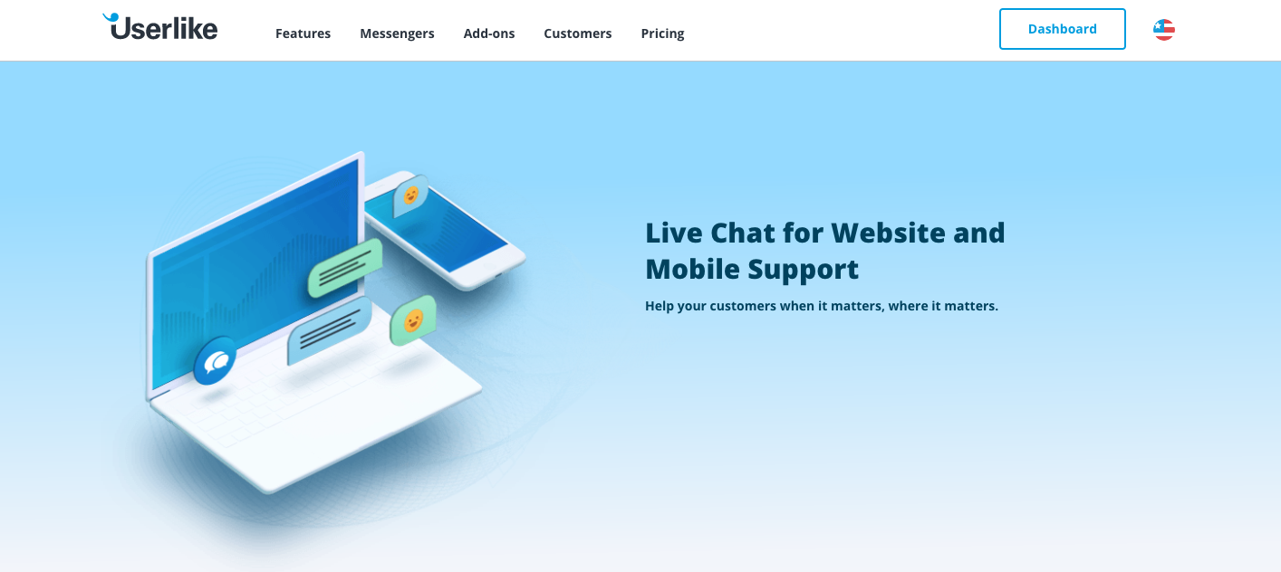 Screenshot of the new homepage showing a computer and a mobile phone.