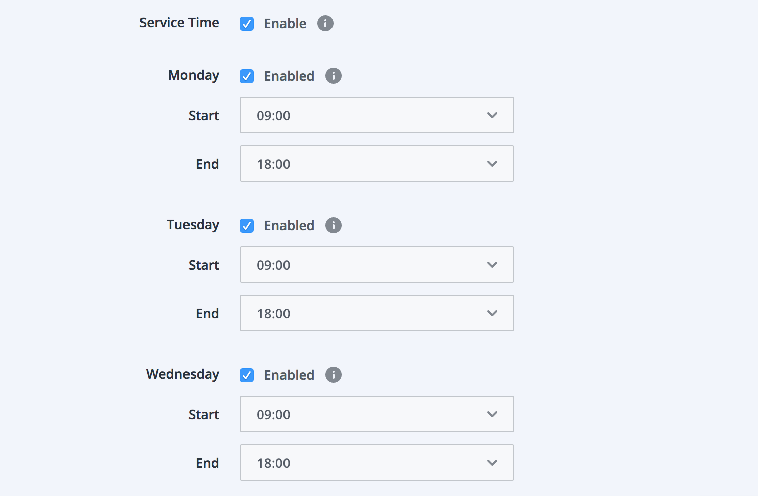 Screenshot of daily service time.