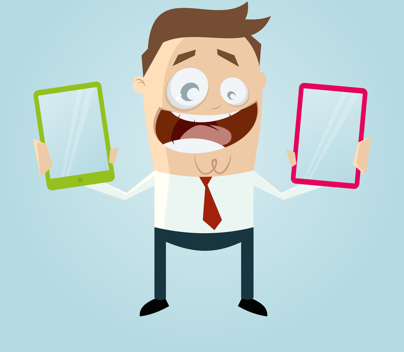 Cartoon of confused man holding two tablets- header for blog post Quick Guide to A/B Test your Live Chat Setup