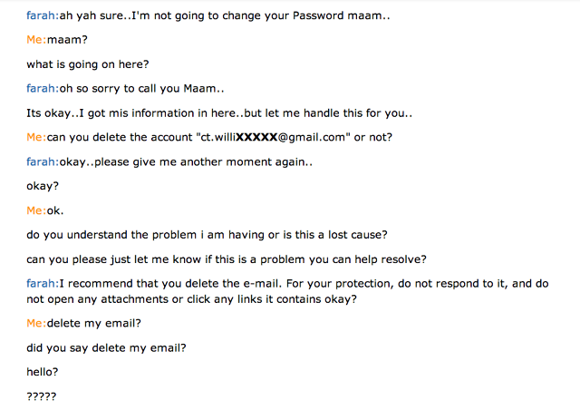 Amazon live chat fail