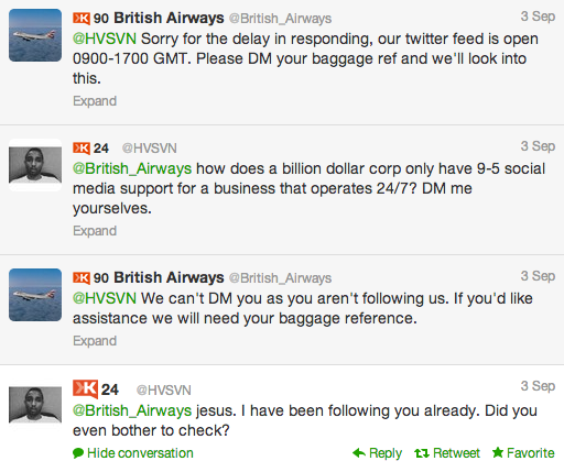 British Airways response to promoted tweet