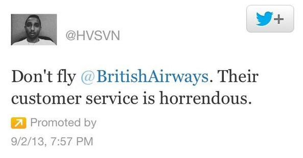 British Airways promoted tweet