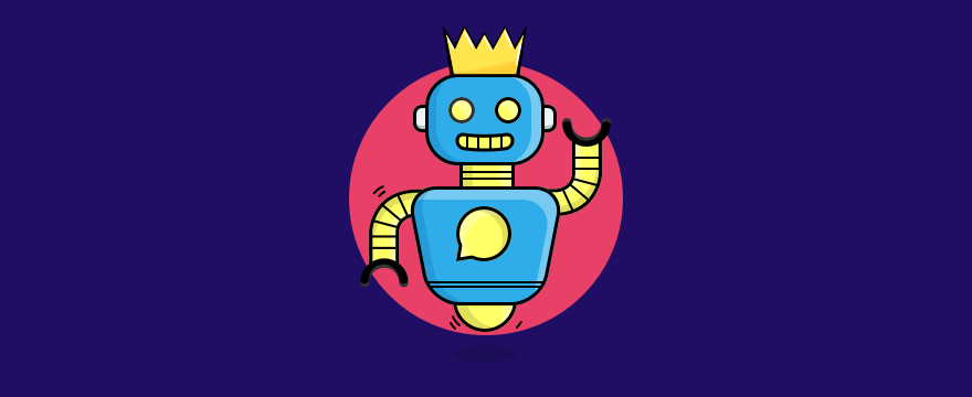 a chatbot wearing a crown – header image for post on best chatbots 2018