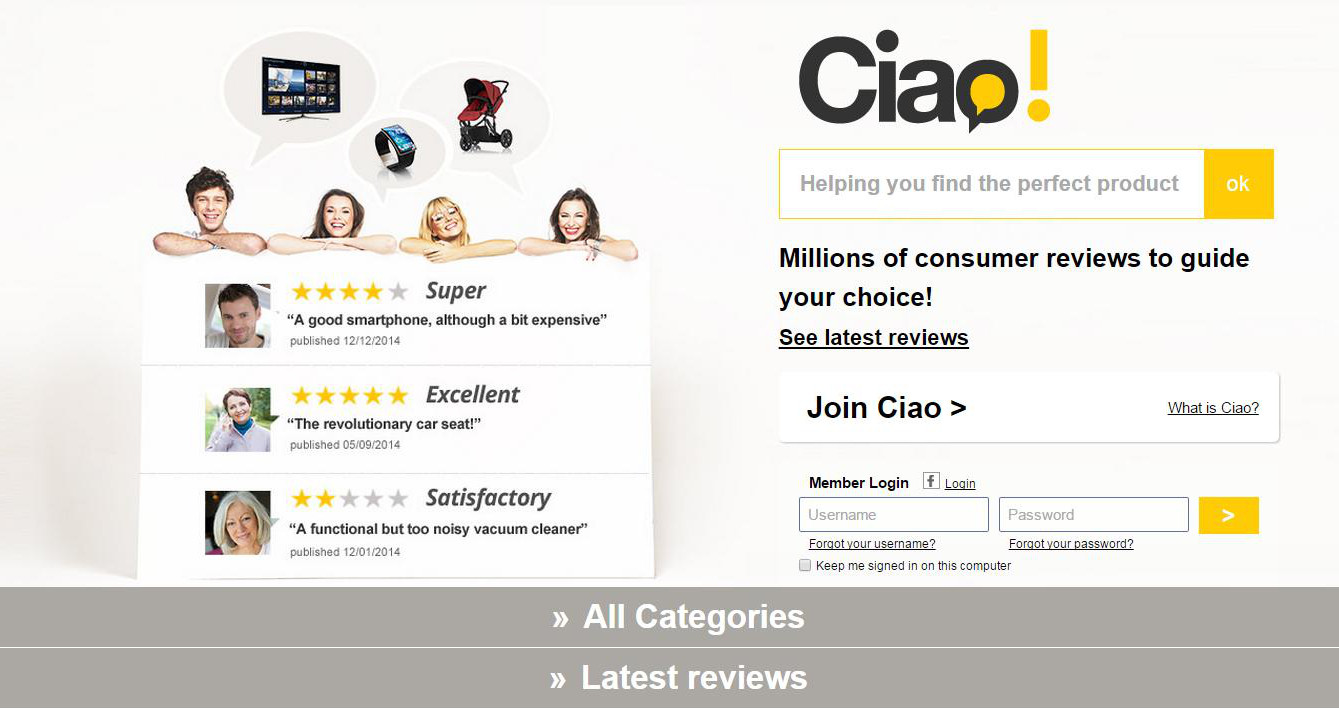 screenshot of ciao website