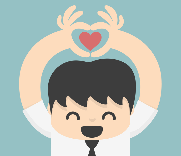 cartoon of man making a heart with his hands