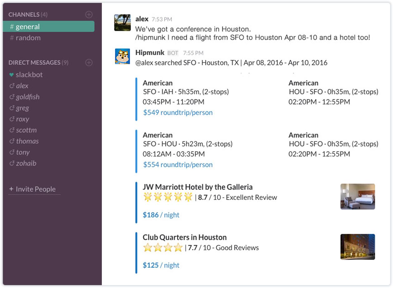slack screenshot of hipmunk in action