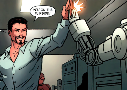 comic of Tony Stark and Dum-E