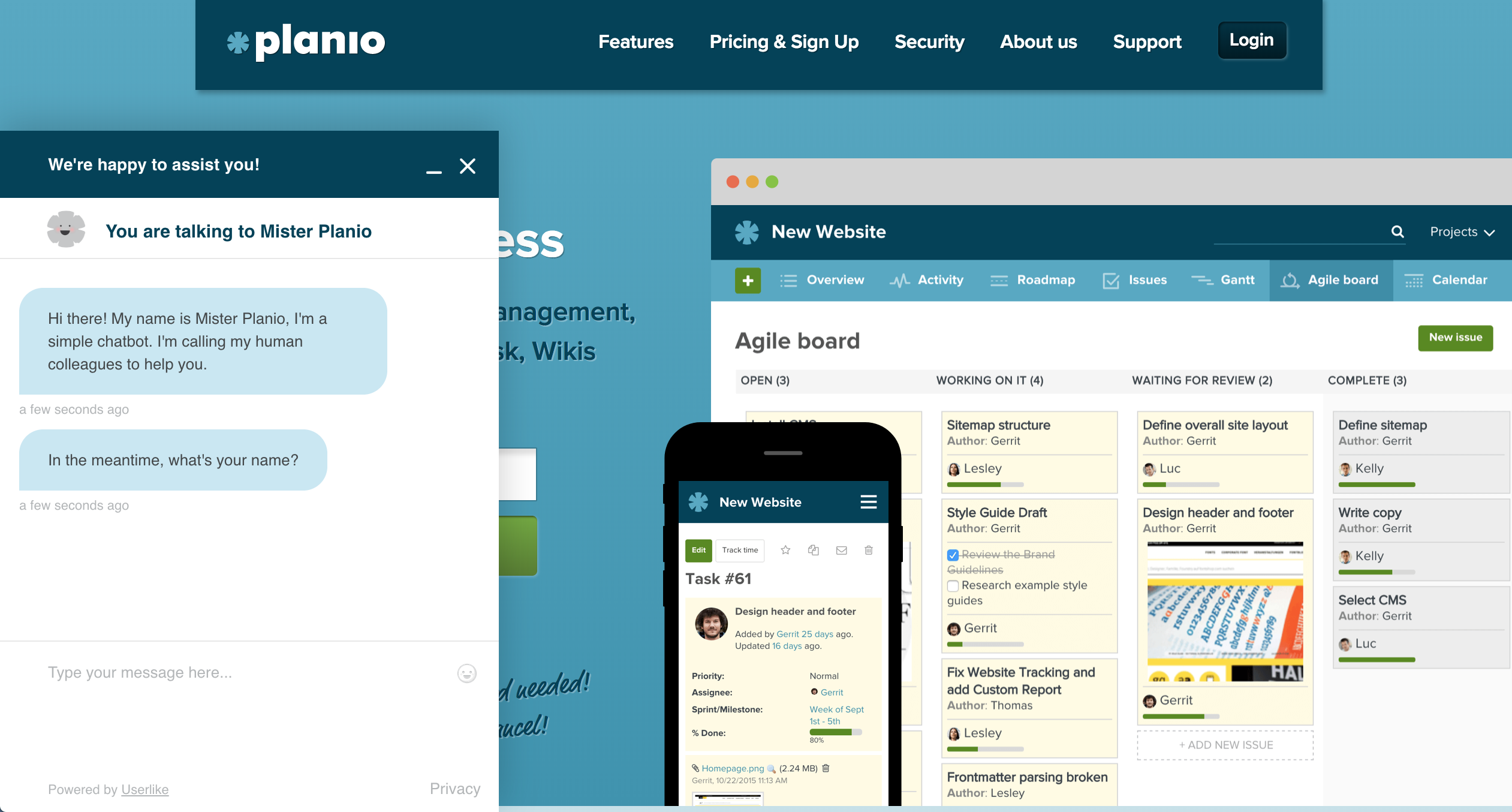 Screenshot of Plan.io's website with Mister Planio